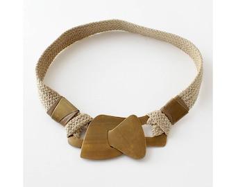 Abstract Brass Belt • Statement Belt • 80s Belt • Brass Belt Buckle • Stretchy Belt • Cinch Belt • Vintage Belt • Boho Belt | BT318