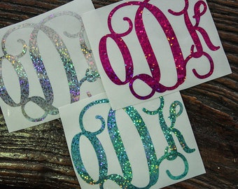 Holographic Glitter Vinyl Monogram Decal for Car, Laptop or Yeti