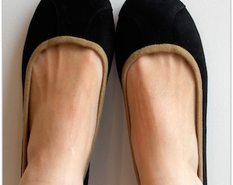 ISLANDER- Ballet Flats - Suede Shoes  with Tan insert - 37-Black. Available in different sizes