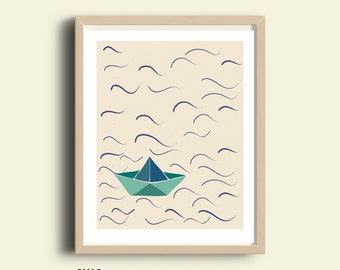 Illustration, PRINTABLE illustration,  kids room, children prints, nursery print, illustration art, illustration print, origami paper boat
