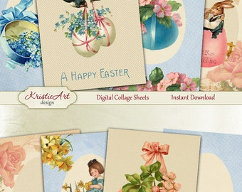 75% OFF SALE Happy Easter - Digital Collage Sheet Digital Cards C149 Printable Download Spring Tags Digital Atc Cards ACEO Easter Cards