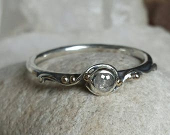 Sterling Silver Water Band set with a rose cut Diamond