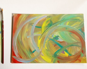 Abstract painting yellow and green on cardboard , acylic cardboard painting
