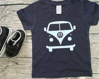 Boys Unisex Volkswagen Volkswagon Bus short Sleeve Heather Blue Gray T Shirt modern graphic trendy tee maroon Onesie Kids TSLM