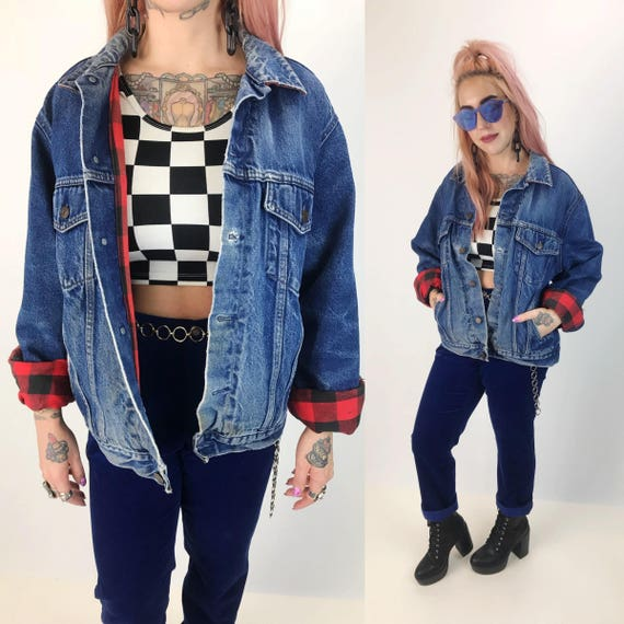 90's Distressed Denim Jacket with Red Plaid Lining Medium Adult - Soft Jean Jacket Plaid Lined Warm Everyday Coat - Quilted Blue Jean Jacket