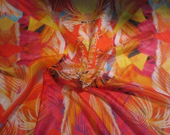Vibrant Orange and Pink Abstract Print Pure Silk Mousseline Chiffon Designer Fabric--By the Yard