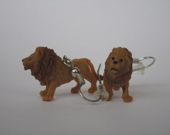 Brown Lion Dangle Earrings (Sterling Silver or Nickle Free)