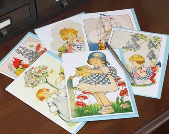 Frameable 5x7 Greeting Card Set with Vintage Betty Fairy artwork (6 Card Set with colored envelopes)