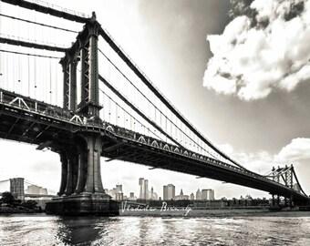 New York Photography - The Real New York Giants - Manhattan Bridge and Brooklyn Bridge  8x10 Photograph in Black & White