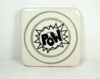 tile with grey gray pinstripe bullseye and POW print, ready to ship