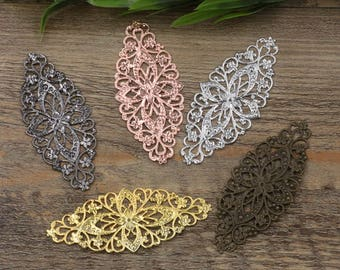 Wholesale 10 Brass Filigree Floral 35x80mm Raw Brass/ Antique Bronze/ Silver/ Gold/ Rose Gold/ White Gold/ Gun-Metal
