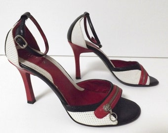 Vintage 90's Guess Stiletto Heels with Zippers - Strappy Open Toe - Black, White & Red