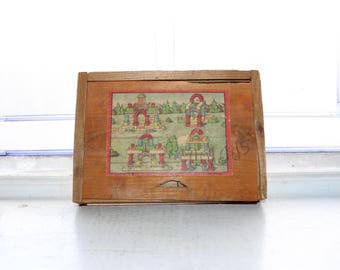 Antique Toy Wood Building Blocks In Box Made in Germany 1910s