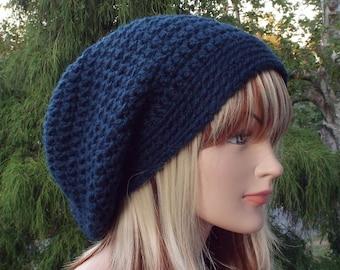 Navy Blue Slouchy Beanie, Womens Crochet Hat, Oversized Slouch Beanie, Chunky Hat, Baggy Beanie, Slouchy Hat, Winter Hat, Slouch Hat