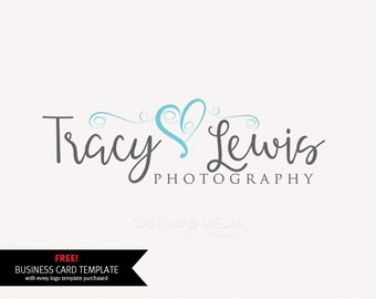 Premade Photography Logo design - Watermark logo - Heart logo - DIY psd logo script font included
