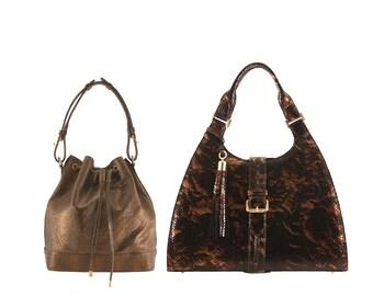 Leather bucket bag SOPHIE, tote ANNA // beige bronze snake ostrich lizard e. (Italian calfskin) - FREE shipping, unique bag