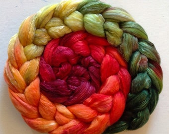 Hand Dyed gradient roving 3.5ozs 19 micron merino/silk 70/30ready to ship