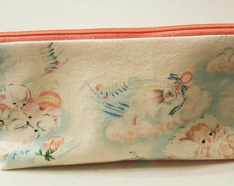 Vintage Baby Zippered Flat Bottom Pouch Bag Contrasting Lining