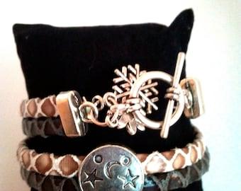 Bracelet double strand leather