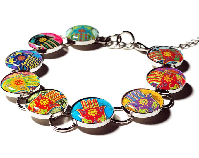 Namaste Hamsa Hand Yoga Bracelet, Hand of Fatima, Handmade Hamsa, Namaste Bracelet, OM Jewelry, Meditation Bracelet, Religious