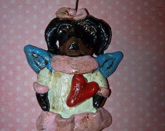 Folk Art Whimsical Daschund Dog Angel Doll Ornament Vintage Nostaglic Style Ooak Doxie Dog