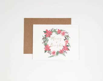 Watercolor Flower Wreath - Merry & Bright - Holiday Card