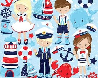 80% OFF SALE Nautical Kids clipart commercial use, sailor vector graphics, penguin digital clip art, digital images  - CL800