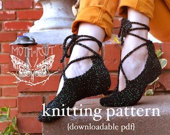 Ghillies Dance Slipper Knitting Pattern - PDF digital document download - how to instructions - fiber craft diy knit