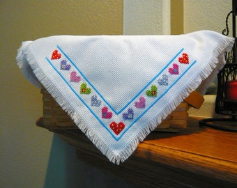 Colorful Heart Border Cross Stitched Basket Liner -  Bread Cloth - gift basket accessory - shelf accent - Mother's Day