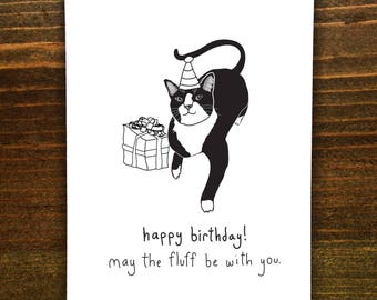 Happy Birthday! May The Fluff Be With You - Handmade Card - Love Cats