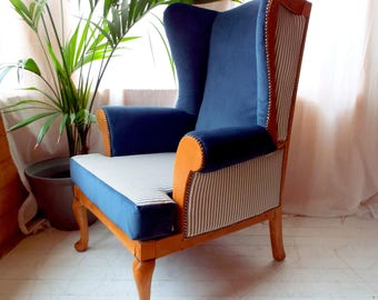 Fully Reupholstered Birch and Alpe Wingback Armchair in Blue Velvet