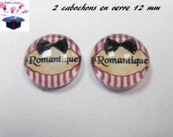 2 glass cabochons 12 mm for loop or theme message ring