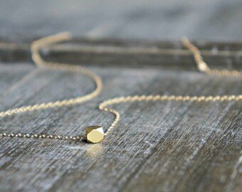 Gold Nugget Necklace // Small ( 4mm ) Geometric Chunk on a 14k Gold Filled Chain / Dainty Modern Minimalist Jewelry