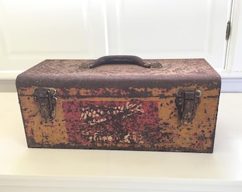 Antique Metal Toolbox with Tools