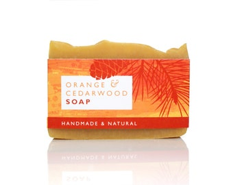 Natural soap with orange and cedarwood | Palm Oil Free Soap | Cold Process Soap | Essential Oil Soap | Shea Butter Soap | Face Soap