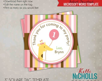 Printable Sweet at One Girl's Birthday Party Custom Favor Tag, Giraffe Birthday Decoration Template, Instant Download #B113-G