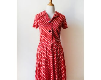 Vintage 70s Polyester Red Polka Dot Day Dress Small
