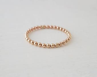 Gold Beaded Stacking Ring Bead Ring