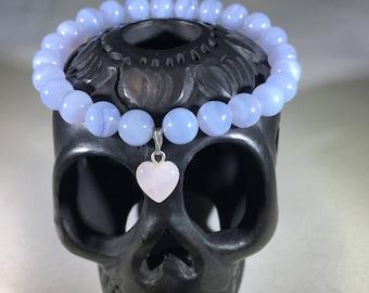 Blue Chalcedony W/ Rose quart heart