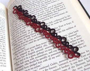 Gothic Tatted Bookmark in Black and Red - Eva