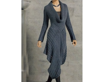knit dress pattern,detailed tutorial,high low dress pdf,knit winter dress,knit maxi dress PDF,knit asymmetric dress PDF,knit dress tutorial