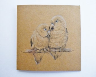 Love birds Valentines Gift card, Unique hand drawn Anniversary card, Romantic engagement card, Wedding card, Marriage, Animal couple card