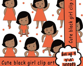 Cute girl clipart, girl clipart, black girl clipart, girl, girl print, emotion clipart, pretty girl clipart, cute little girl, sweet girl