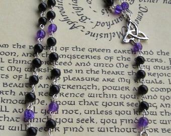 Pentagram Rosary, Black / Purple