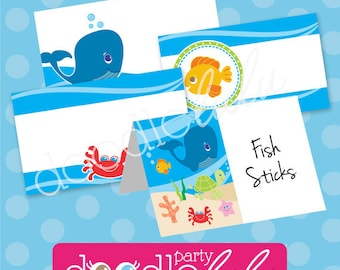 Under the Sea Party Food Labels - Pool Party Buffet Cards - Ocean Birthday Party Table Tents - Summer Party - EDITABLE, INSTANT DOWNLOAD