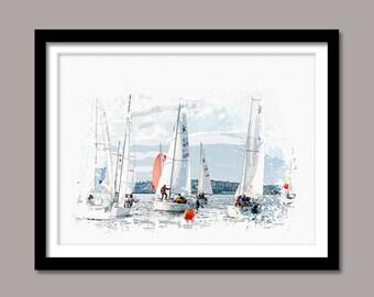 Sailboats Print, Sailboats Digital Print, Boats Printable Art, Sailboats Abstract Print, Boats Poster, Watercolor Art, Wall Decor, Painting