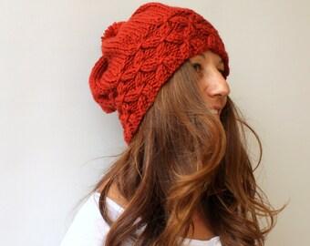 Slouchy Beanie Womens Pom Pom Hat Knit Hat Rustic Orange Winter Hat - Brick Burnt Beret / Chunky / Beret /Baggy / Beanie