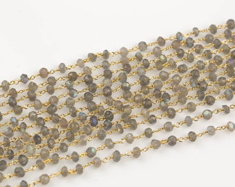 Natural Labradorite Rosary Chain by the Foot. 3MM - 4MM Gold Plated Wire.