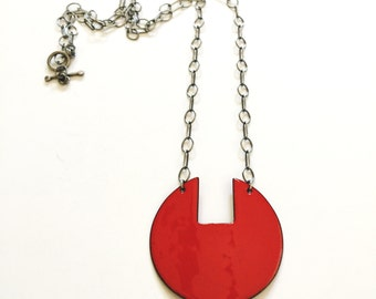 Long geometric enameled copper statement necklace - red disc with oxidized sterling silver chain