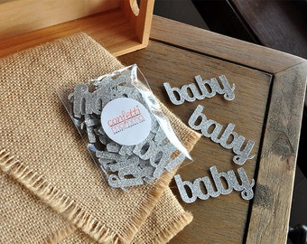 Baby Confetti for Baby Shower Table Decoration in Glitter Silver 25CT.  Handcrafted in 2-5 Business Days.
